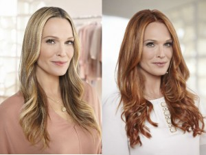 Molly Sims before and after her transformation to a red head. Photo Credit: Nexxus